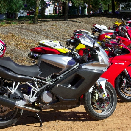 A bevy of Dukes at Moto Italia - A line-up of many of the Canberra Ducati Club members' bikes, starting with my former ST3.