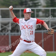 Lake Central vs. Crown Point - 4/20/16 - Crown Point pitcher Mark Mazure fell behind early, but then settled in behind solid run support from his Bulldog...