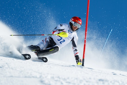 140813_FIS_SL1_3465 - Athlete competing in SSA FIS Slalom race on Hypertrail at Perisher, NSW (Australia) on August 13 2014. Jan Vokaty