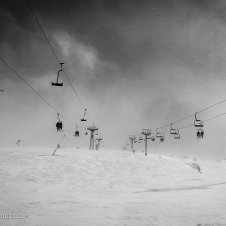 Storm over Mt. Perisher - Ski lifts on Mount Perisher disappearing in to the clouds. Perisher Ski Resort ( NSW ), Australia. Photo: Jan Vokaty