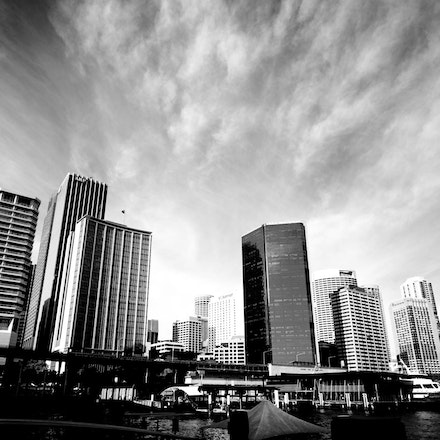 Sydney in Black and White view from Circular Quay - Copyright © 2015 Melissa Fiene Photography. All rights reserved. All images created by Melissa Fiene...