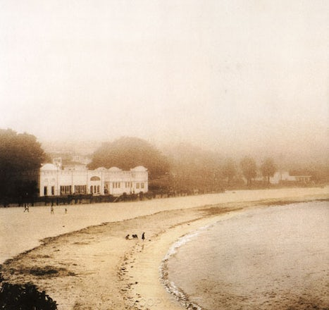 Bathers in the Mist ,Balmoral Beach,Mosman - Hand coloured print taken in 1994 on film,black and white,then hand coloured with pastels. From the book....Balmoral...