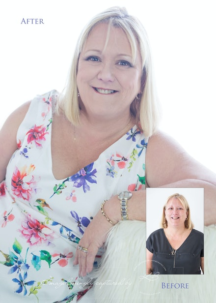 Before-and-after - Before and After from Di's glamour portrait session in our Edens Landing, Logan City studio.