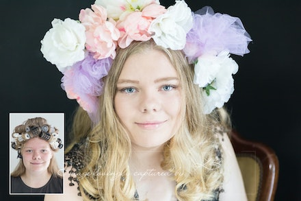 Before-and-after - Before and After from Dani's glamour portrait session in our Edens Landing, Logan City studio.