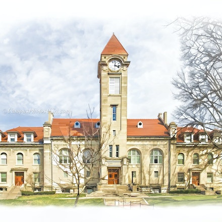 Student Building,Indiana University/Digital Watercolor_2436_6132_2_ - Photo by Campus Photos USA. The Student  Building on the Campus of Indiana University,...