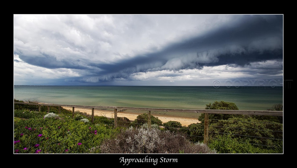 Approaching Storm - This spectacular example of a roll cloud associated with a storm front was captured over port Phillip Bay at Mentone, Melbourne.