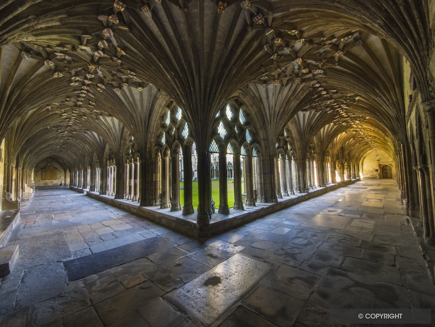 Canterbury Cathedral Cloisters Arcade - Canterbury Cathedral in Canterbury, Kent, is one of the oldest and most famous Christian structures in England...