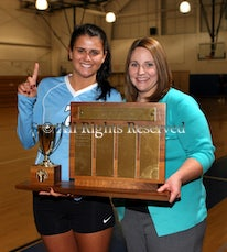 MSDA Volleyball celebration - MSDA volleyball players with State Prep championship trophy