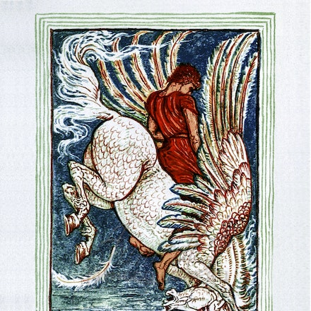 Bellerophon_on_ Pegasus - This image is reproduced from a public domain publication, advertisement, or vintage print. It has been retouched.
