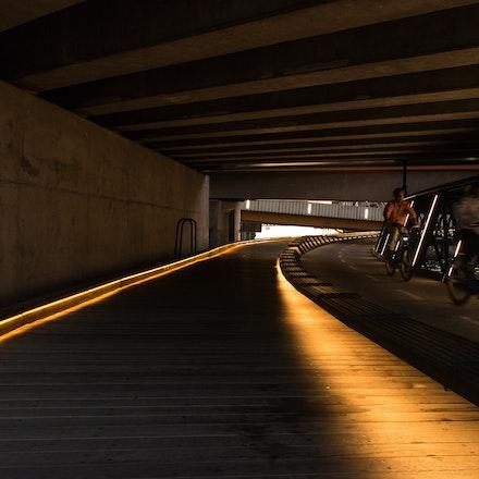 Under Charles Grimes Bridge - Using the new bike path under Charles Grimes Bridge in the Docklands district of Melbourne, Australia