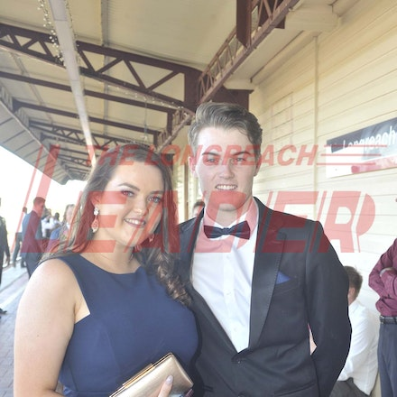 161118_SR24966 - Brittney Harris and Bailey Davies at the Longreach State High School's Year 12 Formal photo call at the Railway Station, Friday November...