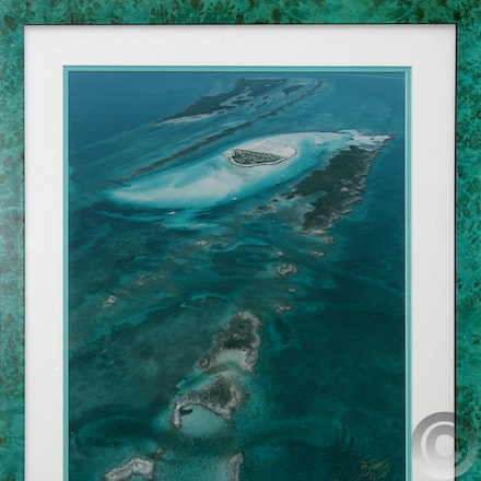 DOUBLE BREASTER CAYS - Framed 16 x 20 Aerial of Double Breasted Cays with gold commemorative title. Custom Framed in a turquoise burlwood frame.  $125.00