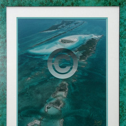DOUBLE BREASTER CAYS - Framed 16 x 20 Aerial of Double Breasted Cays with gold commemorative title.